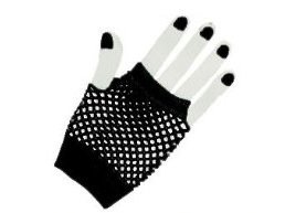 Dramatic 80's Fishnet Gloves, Black