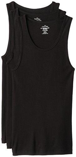 Calvin Klein Men's 3-Pack Cotton Classic Rib Tank Top, Black, Medium (Top Men compare prices)