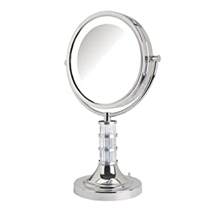 Jerdon Limited Edition Steuben Artisan Series Makeup Mirror, Column, Chrome, 8.5-Inch, 5.5 Ounce