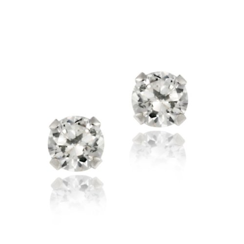 Sterling Silver 1/4ct White Topaz Stud Earrings, 3mm