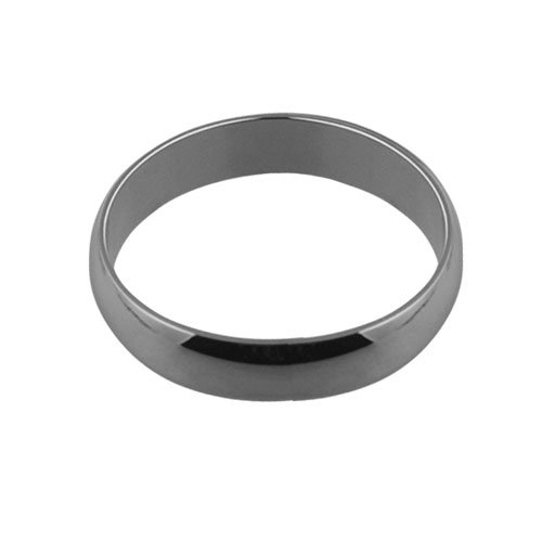 9ct white gold plain D shaped wedding ring 5mm wide in Sizes Q to Z