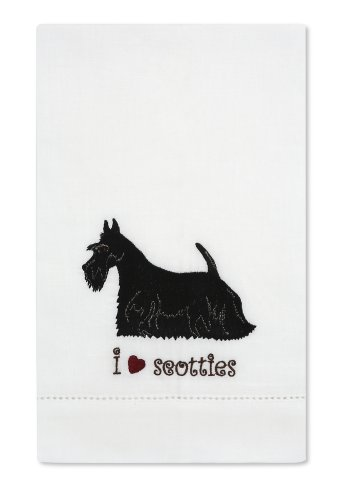 Rescue Me Now Scottie Tea Towel, 11 By 7-Inch, Embroidered front-17844