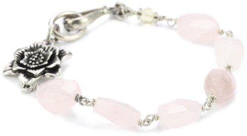 "Lucky Brand ""Energy Amulet"" Silver-Tone Pink Flower Love Bracelet"