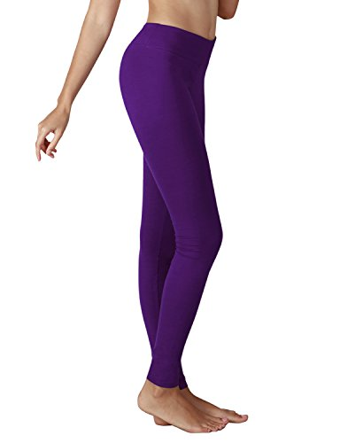 Yoga Reflex Women's Active Yoga Running Pants Workout Leggings - Hidden Pocket , Purple , Large