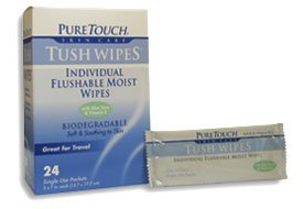 Pure Touch Tush Wipes For Adults 24 Individual Flushable Moist Wipes / 6 Boxes 144 Single-Use-Packets front-55709