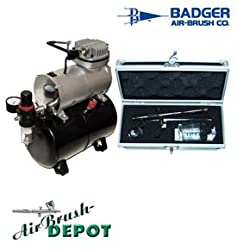 BADGER Renegade Rage - R3R Set Airbrushing System with AirBrush-Depot TC-20T Air Compressor Storage Tank