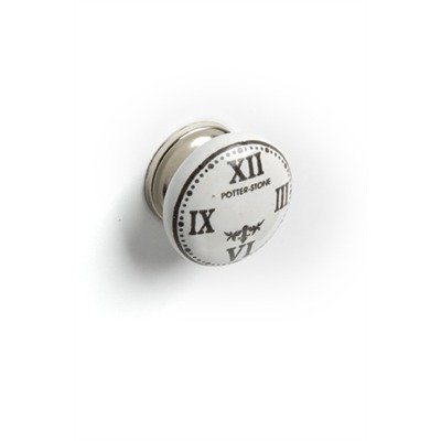 Roman Numeral Clock Ceramic Drawer Dresser Cupboard Pull Knob - White With Black