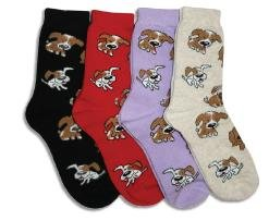 Womens Premium Novelty Crew Socks - 2 Pack - Size 9-11 - Nosy Pups - Red/Purple