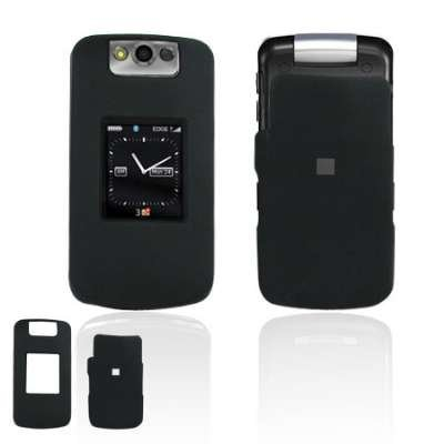 Black Rubberized Protex Hard Phone Cover for BlackBerry Pearl Flip 8220 T-Mobile Protector Case