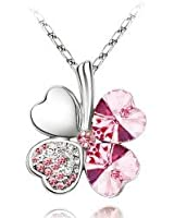 ElleClub Rose Pink Crystal Four Leaf Clover Heart Shape Pendant Swarovski Elements Necklace with 18'' Chain
