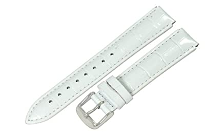 Clockwork Synergy® - 12mm x 10mm - White Croco Grain Leather Watch Band fits Philip stein Mini