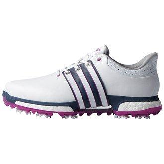 adidas Herren Tour 360 Boost WD Golfschuhe, Weiß (White/Flash Pink /Mineral Blue), 42 EU
