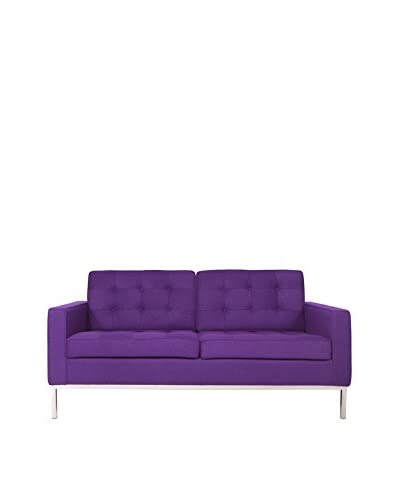 LeisureMod Modern Lorane Wool Loveseat, Purple