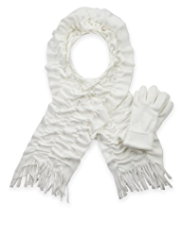 M&S Collection Fleece Ruffle Scarf & Gloves Set
