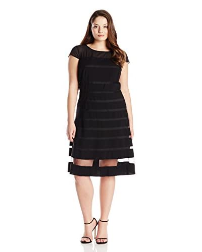 Adrianna Papell Plus Women's Cap Sleeve Illusion Fit-and-Flare Dress