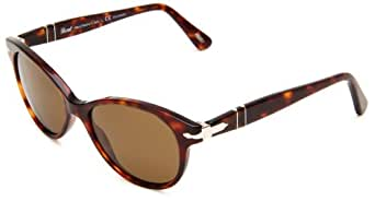 Persol Women's 0PO3017S 24/57 52 Polarized Cateye Sunglasses,Havana Frame/Brown Lens,One Size