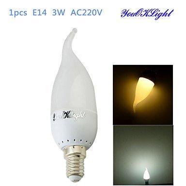 1youoklight® E143W CRI = 70180lm 6-smd2835Warm Weiß Kaltweiß Licht LED Kerze Leuchtmittel (AC 220V) (Lichtquelle Farbe: Cool weiß)
