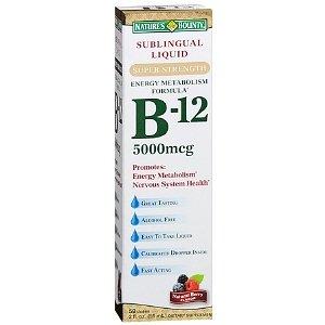 Nature'S Bounty B-12 Sublingual Liquid 5000 Mcg, Berry 2 Fl Oz (59 Ml)