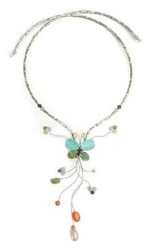 Peridot and citrine choker, 'Forest Butterfly'