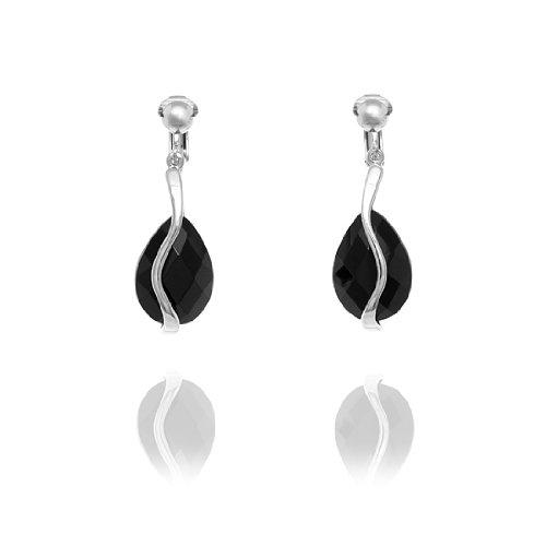 Rodney Holman Teardrop Crystal Bar Clip On Earrings - Black