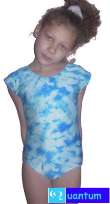 gymnastics leotards: Cap Sleeved White and Turquoise Tiedyed Nylon