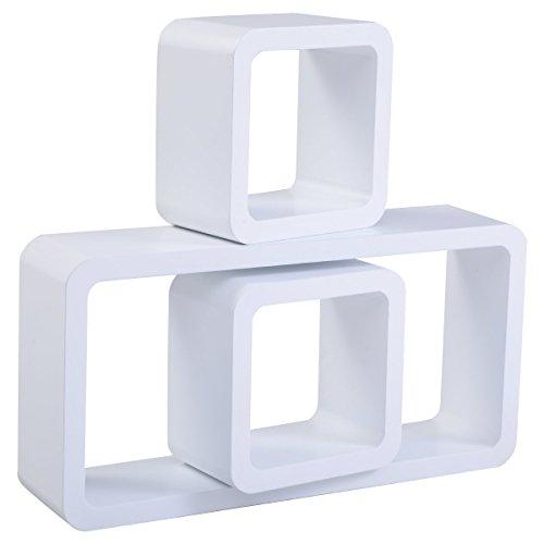 Giantex 3PC Floating Wall Shelves Shelf Display Decor Storage Black MDF (White) (Cube Storage Display compare prices)