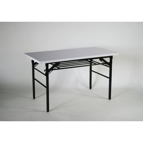 ■棚付き■折りたたみ 折畳み 会議テーブル 会議用テーブル ミーティングテーブル 高脚■120x60x70cm■7651SB-WH