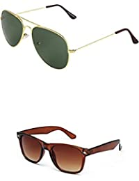 SHEOMY COMBO OF GOLDEN GREEN AVIATOR AND BROWN WAYFARER SUNGLASSES WITH 2 BOX (SUN-035)