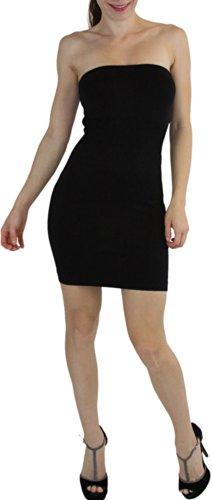 ToBeInStyle Women's Microfiber Seamless Strapless Stretchy Mini Tube Slip Dress - Black - One Size