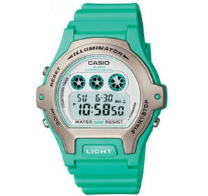 Casio Womens Calendar Round Case Silver Dial and Green Resin Band Watch LW202H-3A