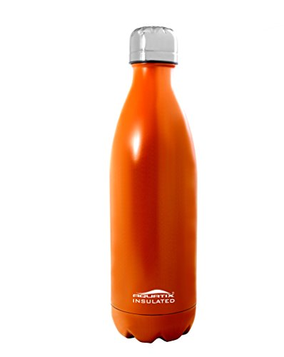 Orange Aquatix Bottle Ultimate Sport Bottles 25 Oz Personal Hydration Easy Best Ever Insulated Eco-friendly Water Bottle on Amazon Won't Leak or Sweat Try It Risk Free 100% Pure & Safe Stainless Steel Won't Rust or Crack, No Metal Taste, BPA & Toxin-free. Keep Drinks Cold 24 Hrs, Hot 12 Hrs Perfect for Yoga Soccer Basketball Fitness Exercise Football Golf Outdoor Hiking Rock Climbing Hunting Fishing Softball Baseball Maximum Chill Factor