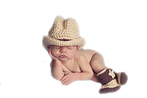 DELEY Baby Boys Cowboy Hat Boots Costume Outfits Infant Photography Prop (0-6 Months)