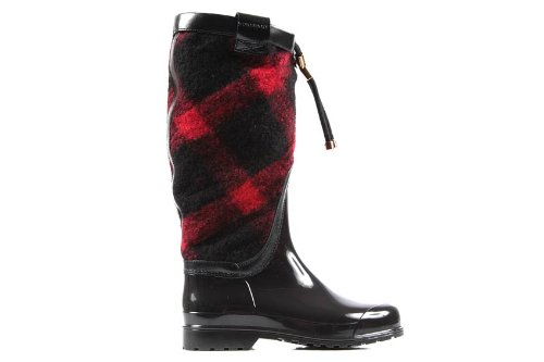 Burberry Lawson Plaid Wool Weather Boots Size 35, 5