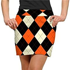 Loudmouth Golf Ladies Skorts: Orange & Black Argyle - Size 2 by Loudmouth Golf