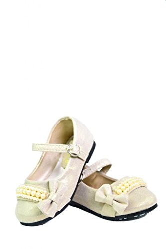 Dream Pairs Crystal-3 Mary Jane Velcro Pearl Bow Ballerina Flat (Toddler/ Little Girl) New front-304322