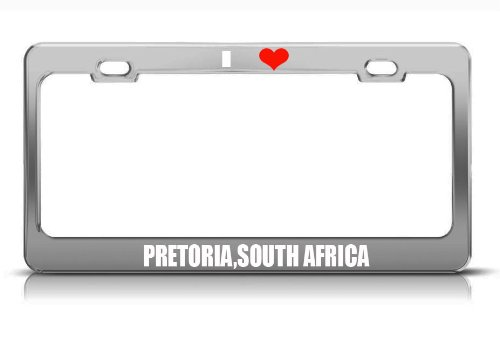Pretoria,South Africa Country City Nationality White Chrome Metal License Plate Frame Tag Border