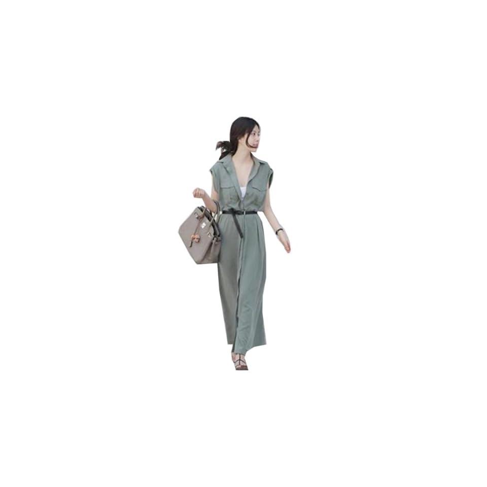 Zehui Womens Chic Button Down Long Shirt Dress With Vest Overall Dress Green