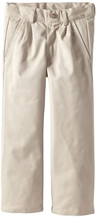 Nautica Little Boys' Uniform Pleated Twil Pant, Khaki, 04