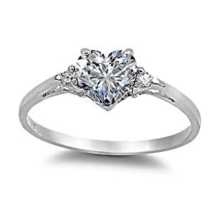 Sterling Silver 1.02ct Elegant Heart-cut Russian Ice on Fire CZ Promise Friendship Ring, Cassie version, Size 7.0