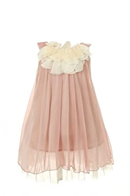 7 Colors Girl's 2-14 Soft Flowy Chiffon w/Ivory Pageant Flower Girl Party Dress