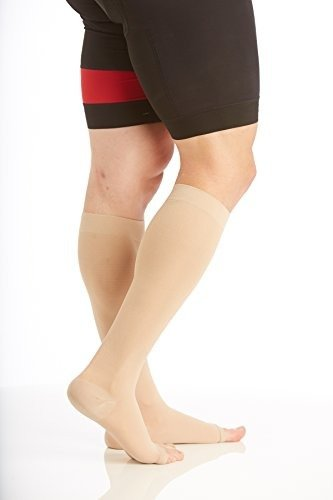 Opaque Compression Socks Knee-Hi Firm Support Open Toe Unisex (Large, Beige) Compression stockings 20-30mmHg, Surgical Weight, medical compression socks, compression stockings post surgery, compression socks for men & woman