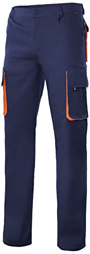 velilla-103004-pantalon-multibolsillos-talla-48-color-azul-marino-y-naranja