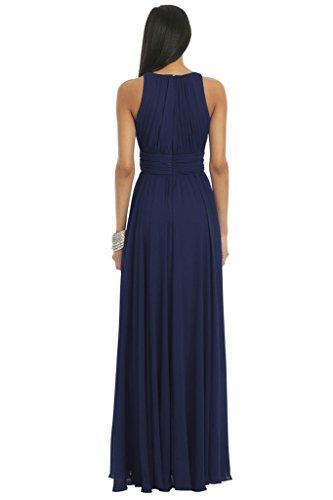 Ssyiz Women's Elegant Pleated Chiffon Floor Length Evening Party Dress Navy Blue S