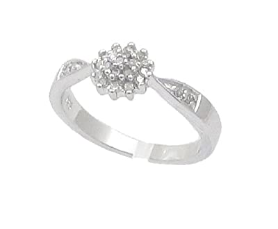 The Diamond Ring Collection: Beautiful 0.15CT Diamond Cluster Ring with Diamond Shoulders in Sterling Silver