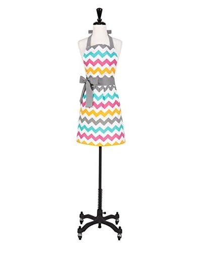 KAF Home Spring Chevron Print Hostess Apron, Teal/White/Yellow/Pink