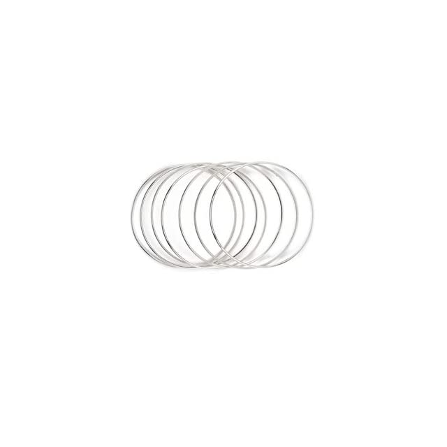 Sterling Silver Seven Day Plain Cuff Bangle Bracelet (7 pieces)