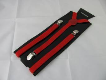 Pair of red Mod design narrow braces.Suspenders , 1.5cm wide. Adjustable . One size Adults. Metal adjusters and Snap fasteners