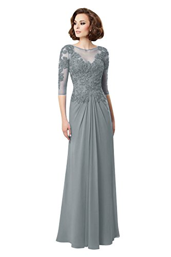 c2ecd342 LadyFirst Women's Lace Appliques Half Sleeves Mother Party Dress  Steelgray18w