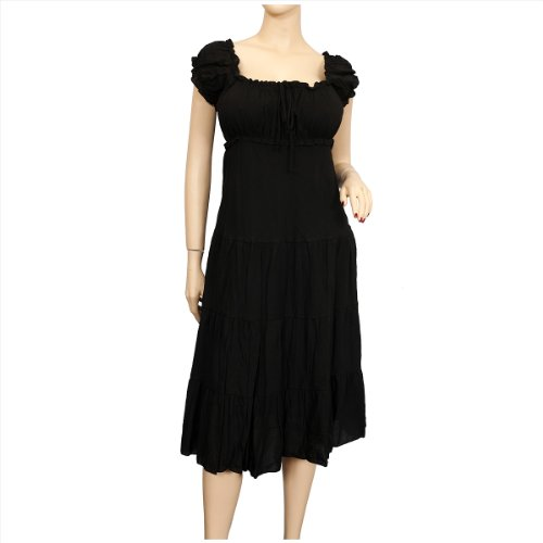 Plus Size MidNight Black Cotton Empire Waist SunDress - 1X