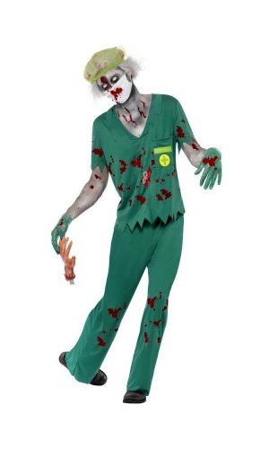 Zombie Paramedic Adult Costume, Green, Large(42-44)